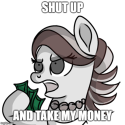 Size: 500x500 | Tagged: artist:rainbowtashie, caption, discorded, female, futurama, image macro, mare, meme, money, pony, safe, sketch, solo, spoiled rich, text