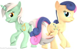 Size: 4088x2602 | Tagged: 3d, artist:flushthebatsanta, bon bon, earth pony, female, lesbian, looking at you, looking back, lyrabon, lyra heartstrings, mare, open mouth, plot, pony, raised hoof, safe, shipping, smiling, source filmmaker, sweetie drops, unicorn