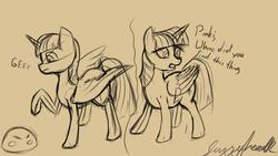 Size: 1920x1080 | Tagged: safe, artist:fuzzyhead12, twilight sparkle, alicorn, pony, comic, concerned, monochrome, offscreen character, sketch, slime, speech, text, twilight sparkle (alicorn)