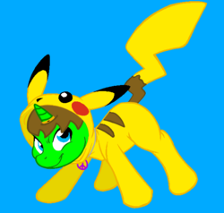 Size: 584x556 | Tagged: artist:angrybeavers1997, cursed suit, horn ring, jewelry, magic suppression, necklace, nintendo, oc, oc:ryan, onesie, origins, peace symbol, pikachu, pokémon, safe, story included, story in the source