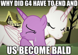 Size: 1197x851 | Tagged: bald, crying, dystopia, edit, end of ponies, princess celestia, sad, safe, series finale blues, text, twilight sparkle