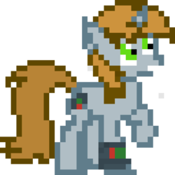 Size: 960x960 | Tagged: artist:joeydr, cutie mark, derpibooru exclusive, fallout equestria, fanfic, fanfic art, female, hooves, horn, mare, oc, oc:littlepip, pipbuck, pixel art, pony, raised hoof, safe, simple background, solo, transparent background, unicorn