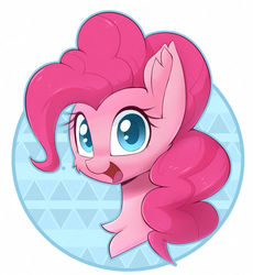 Size: 1280x1393 | Tagged: safe, artist:puetsua, pinkie pie, earth pony, pony, abstract background, bust, cheek fluff, chest fluff, colored pupils, cute, diapinkes, ear fluff, female, mare, open mouth, portrait, simple background, smiling, solo, white background