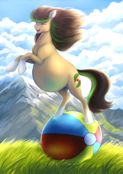 Size: 2480x3507 | Tagged: artist:nsfwbonbon, ball, belly, big belly, earth pony, eyes closed, female, happy, mare, oc, oc:verdant ardea, pregnant, safe, solo, this will end in pain, windswept mane