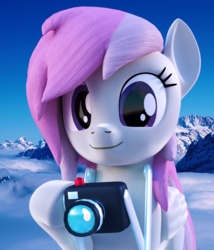 Size: 1500x1752 | Tagged: safe, artist:lagmanor, oc, oc only, oc:sweet shutter, pegasus, pony, 3d, blender, blender cycles, camera, female, hoof hold, looking at you, mare, mountain, photo, photo edit, photography, sky, smiling, solo