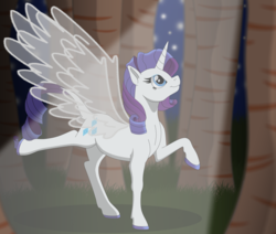 Size: 9389x7950 | Tagged: alicorn, alicornified, artificial wings, artist:faitheverlasting, augmented, colored hooves, forest, leonine tail, magic, magic wings, night, night sky, pony, race swap, raricorn, rarity, safe, sky, solo, tree, wings