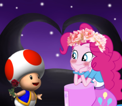 Size: 1288x1125 | Tagged: safe, artist:daniotheman, artist:missbeigepony, artist:rulette, pinkie pie, equestria girls, barely eqg related, blushing, crossover, crossover shipping, floral head wreath, flower, flower in hair, nintendo, rose, shipping, super mario bros., toad (mario bros), toad pie