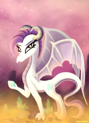 Size: 1700x2338 | Tagged: artist:pedrohander, dragon, dragon wings, race swap, rarity, safe, solo