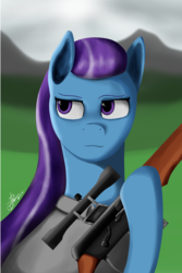 Size: 2084x3124 | Tagged: artist:raminy44, earth pony, equestria at war mod, female, gun, hoof hold, hooves, mare, oc, oc only, optical sight, pony, rifle, safe, scope, sniper rifle, solo
