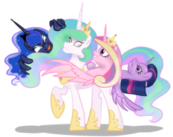 Size: 1294x1024   Tagged: safe, artist:inersdraco, princess cadance, princess celestia, princess luna, twilight sparkle, alicorn, pony, budding, female, mare, multiple heads, mutant, simple background, transparent background, twibutt, twilight sparkle (alicorn), wat, weird, what has magic done, wing hands, wings