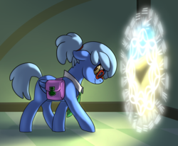 Size: 1778x1467 | Tagged: arcanist, artist:lockhe4rt, collar, cute, dungeons and dragons, hazel eyes, looking back, necktie, oc, oc:ivory drop, pathfinder, pen and paper rpg, pony, ponyfinder, portal, rpg, saddle bag, safe, scene, time traveller