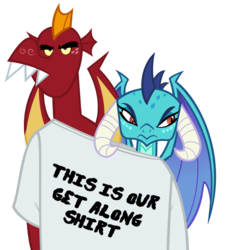 Size: 651x710 | Tagged: artist:queencold, clothes, dragon, dragoness, duo, emble, female, funny, garble, get along shirt, hilarious, male, princess ember, safe, shipping, shirt, simple background, straight, teenaged dragon, transparent background