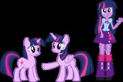 Size: 3193x2145 | Tagged: safe, artist:quanxaro, twilight sparkle, alicorn, pony, unicorn, equestria girls, rainbow rocks, human ponidox, nervous, palette swap, recolor, self ponidox, time paradox, triality, twilight sparkle (alicorn), unicorn twilight, waving