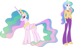 Size: 5030x3156 | Tagged: safe, artist:quanxaro, princess celestia, pony, equestria girls, human ponidox, palette swap, principal celestia, recolor, self ponidox