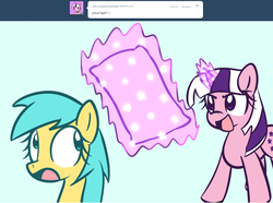 Size: 1280x954 | Tagged: artist:datahmedz, ask, magic, pillow, pony, raindropsanswers, safe, sunshower raindrops, tumblr, twilight