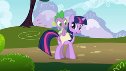 Size: 1920x1080 | Tagged: friendship is magic, looking at each other, open mouth, safe, screencap, spike, tree, twilight sparkle