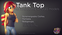 Size: 3840x2160 | Tagged: safe, artist:imafutureguitarhero, artist:sindroom, part of a set, sunset shimmer, human, equestria girls, 3d, clothes, colored eyebrows, download, download at source, downloadable, female, gradient background, high res, jeans, multicolored hair, pants, part of a series, sleeveless, solo, source filmmaker, tanktop, text