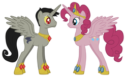 Size: 3872x2380 | Tagged: alicorn, alicornified, alicorn princess, crown, discopie, discord, discord as a pony, female, gem, hooves, jewelry, male, mare, my little pony, pinkiecorn, pinkie pie, pony, prince, princess, race swap, regalia, safe, shipping, stallion, straight, xk-class end-of-the-world scenario