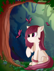 Size: 1730x2280 | Tagged: artist:louisep3, butterfly, earth pony, female, forest, mare, oc, oc only, pony, safe, scenery, solo, tree