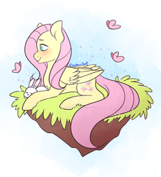 Size: 1280x1408 | Tagged: safe, artist:lozydrawsstuff, fluttershy, butterfly, pegasus, pony, rabbit, blushing, deviantart watermark, female, floating island, folded wings, grass, looking at something, mare, obtrusive watermark, profile, prone, smiling, solo, watermark, wings