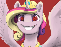 Size: 800x618   Tagged: safe, artist:silfoe, edit, princess cadance, alicorn, pony, alternate hairstyle, alternate universe, face, female, grin, horn, jewelry, mare, meme, oh god, pentagram, regalia, satanism, smiling, solo, spread wings, starry eyes, tiara, triggered, wingding eyes, wings