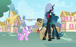 Size: 1280x800 | Tagged: changeling, changeling queen, crown, diamond tiara, earth pony, eyebrows, female, filly, filthy rich, filthysalis, foal, hissing, jewelry, male, necktie, open mouth, ponyville, queen chrysalis, regalia, safe, scared, shipping, smiling, stallion, straight, text, trio
