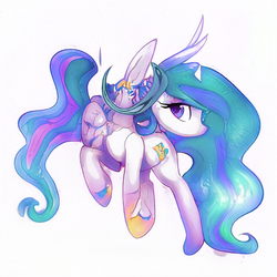 Size: 512x512 | Tagged: abomination, alicorn, artist:aerial, computer generated, female, machine learning, pony, princess celestia, safe, simple background, solo, white background