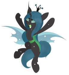 Size: 2328x2508   Tagged: source needed, safe, artist:groomlake, queen chrysalis, changeling, changeling queen, pony, colored, crown, curved horn, cute, cutealis, female, happy, horn, hug, in air, jewelry, jumping, love, mare, open mouth, regalia, silly, simple, simple background, solo, spots, spread wings, white background, wings