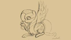 Size: 1920x1080 | Tagged: safe, artist:fuzzyhead12, fluttershy, bird, pegasus, pony, female, hoof hold, looking at something, mare, monochrome, profile, prone, sketch, smiling, solo, spread wings, wings