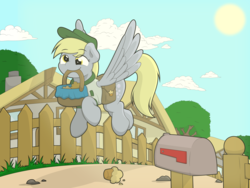 Size: 8077x6066 | Tagged: safe, artist:ljdamz1119, derpy hooves, pony, basket, cloud, cute, derpabetes, eye clipping through hair, featured image, female, fence, flying, food, house, mailbox, mare, mouth hold, muffin, saddle bag, smiling, solo, spread wings, sun, that pony sure does love muffins, wings