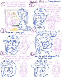 Size: 1280x1611 | Tagged: achievement, adorkable, adorkable friends, artist:adorkabletwilightandfriends, chips, comic, comic:adorkable twilight and friends, controller, cute, dimples, dimples of venus, dj pon-3, dork, dragon, expectations, female, food, happy, male, nervous, plot, pony, sad, safe, sitting, slice of life, snacks, spike, television, unicorn, victory, video game, video game controller, vinyl scratch, winner
