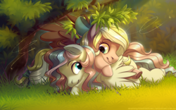 Size: 4000x2500 | Tagged: artist:brajitai, bow, cute, female, hair bow, looking at each other, oc, oc:bay breeze, ocbetes, oc:demure breeze, oc only, pegasus, pony, pony pile, safe, siblings, sisters, snuggling, spread wings, tail bow, wings