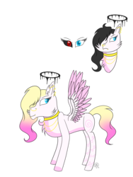 Size: 1224x1632 | Tagged: angel, angel pony, artist:derpyhooves567, black sclera, chest fluff, choker, colored sclera, demon, demon pony, ear fluff, ear piercing, earring, female, freckles, heterochromia, hybrid, jewelry, mare, necklace, nose piercing, nose ring, oc, oc:angelica (angel), oc only, original species, pegasus, piercing, pony, safe, simple background, slit eyes, snake eyes, solo, tattoo, transparent background