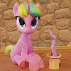 Size: 1920x1920 | Tagged: 3d, artist:gabe2252, blender, cycles, eyelashes, horseshoes, multicolored hair, oc, oc:constant time, pot, safe, sitting, tentacles, unicorn