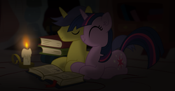 Size: 2976x1548 | Tagged: safe, artist:eagle1division, comet tail, twilight sparkle, pony, book, candle, cometlight, cropped, cup, female, male, shipping, straight, teacup