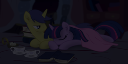 Size: 2968x1484 | Tagged: safe, artist:eagle1division, comet tail, twilight sparkle, pony, blanket, book, candle, cometlight, cropped, cup, female, male, shipping, straight, teacup