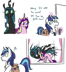 Size: 1113x1200 | Tagged: safe, artist:jargon scott, princess cadance, queen chrysalis, shining armor, alicorn, changeling, changeling queen, pony, unicorn, 2 panel comic, bisexual, chrysarmordance, comic, dialogue, female, german suplex, gilligan cut, john cena, magic, male, mare, music notes, necktie, open mouth, polyamory, pro wrestling, quadrupedal, saddle bag, shipping, smiling, sports, stallion, straight, suplex, telekinesis, this will end in pain, window, wrestling