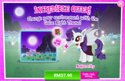 Size: 1041x679 | Tagged: advertisement, alicorn, alicornified, bat ponified, bat pony, bat pony alicorn, cloak, clothes, costs real money, crack is cheaper, female, gameloft, idw, mare, night, official, pony, race swap, raribat, raricorn, rarity, safe, solo, spoiler:comic, spoiler:comic33, town hall