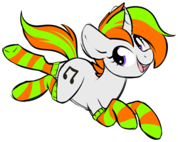 Size: 1024x819 | Tagged: artist:kellythedrawinguni, clothes, female, gift art, looking back, mare, oc, oc only, pony, safe, simple background, smiling, socks, solo, striped socks, transparent background, unicorn