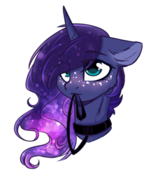 Size: 1250x1428 | Tagged: safe, artist:cloud-fly, princess luna, alicorn, pony, bust, collar, cute, eye clipping through hair, female, floppy ears, freckles, leash, lunabetes, mare, mouth hold, pet play, portrait, simple background, solo, transparent background