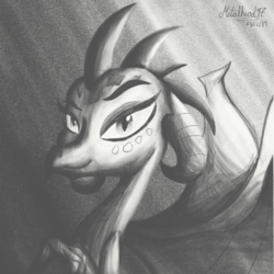 Size: 2048x2048 | Tagged: artist:metalhead97, drawing, phone, princess ember, safe, sketch