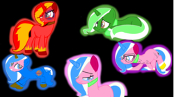 Size: 1024x572 | Tagged: angry, angry kitty, artist:ponybasesrus, artist:rainbowzforlife, astro kitty, base used, biznis kitty, black background, lego, ponified, pony, queasy kitty, safe, simple background, the lego movie, unikitty