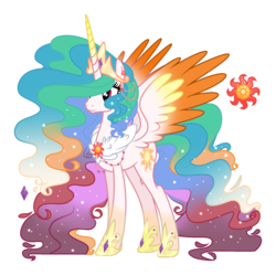 Size: 1946x1937 | Tagged: alternate design, alternate hair color, artist:starling-sentry-yt, colored wings, female, mare, multicolored wings, pony, princess celestia, safe, simple background, solo, transparent background