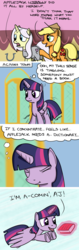 Size: 800x2536 | Tagged: alicorn, applejack, artist:hoofclid, book, comic, dictionary, flying, honest apple, lily lace, literally, pony, safe, thinking, twilight sparkle, twilight sparkle (alicorn)