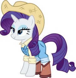 Size: 1450x1500 | Tagged: artist:cloudyglow, boots, cowboy boots, cowboy hat, cowgirl, cowgirl outfit, equestria girls, equestria girls ponified, equestria girls series, female, five to nine, hat, lidded eyes, mare, overalls, ponified, pony, rarity, safe, smiling, solo, unicorn