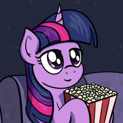 Size: 997x997 | Tagged: safe, alternate version, artist:ashtoneer, twilight sparkle, pony, unicorn, advertisement in description, couch, female, food, holding, mare, popcorn, sitting, solo, unicorn twilight, watching