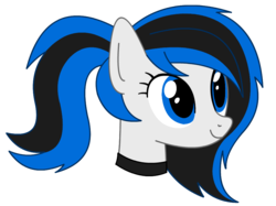 Size: 918x688 | Tagged: artist:rivet97, collar, cute, female, mare, oc, oc:rivet svechkar, pony, ponytail, safe, simple background, smiling, solo, transparent background, vector