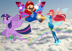 Size: 2088x1482 | Tagged: alicorn, amulet, artist:andoanimalia, artist:user15432, barely pony related, bloomix, bloom (winx club), blue sky, cloud, crossover, fairy, fairy wings, flying, human, humanized, irl, jewelry, magic, magic aura, mario, necklace, nintendo, photo, rainbow, rainbows, rainbow s.r.l, safe, sky, super mario bros., super smash bros., sword, twilight sparkle, twilight sparkle (alicorn), weapon, winged humanization, wings, winx club