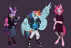 Size: 3135x2100 | Tagged: safe, artist:eeelt, pinkie pie, rainbow dash, twilight sparkle, anthro, earth pony, pegasus, unguligrade anthro, unicorn, backpack, book, clothes, female, filly, filly pinkie pie, filly rainbow dash, filly twilight sparkle, jacket, rock, shoes, simple background, unicorn twilight, younger