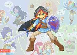 Size: 1407x1000 | Tagged: applejack, artist:howxu, bird, breath of the wild, clothes, crossover, daruk, dress, equestria girls, eyes closed, fluttershy, frog, gerudo, goron, hestu, hylian shield, korok, laughing, link, master sword, mipha, nintendo, patreon, patreon logo, pinkie pie, rainbow dash, rarity, revali, rito, safe, shield, speech bubble, sunset shimmer, sword, the legend of zelda, tunic, twilight sparkle, urbosa, weapon, zora